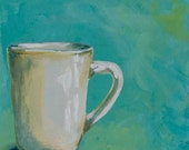Restaurant Mug, Giclee Fine Art Print on Stretched Canvas