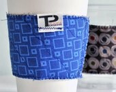 Quilted Reversible Reusable Coffee Cup Cozy in Blue Box and Cocoa Swirl