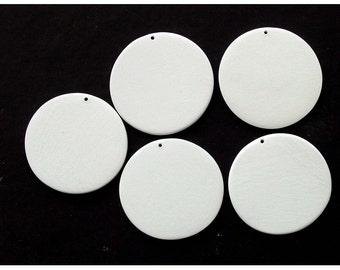 5 Extra Large Blank Bisque Circle Pendants - 5 with small holes
