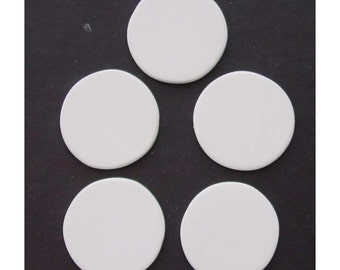 """1 1/2"""" almost, Large Blank Bisque Circle Pendants / Cabochons - no holes - lot of 5"""