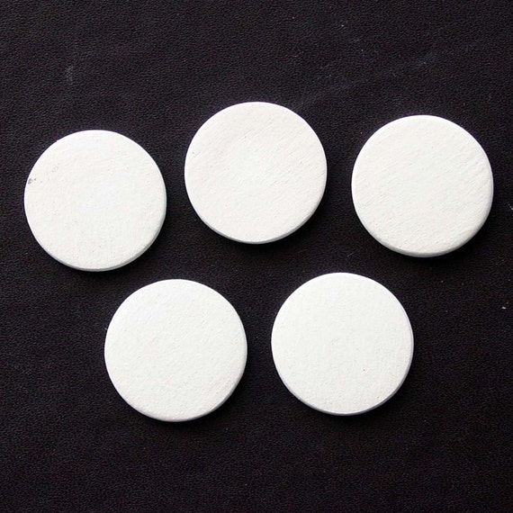"""7/8"""" Blank Ceramic Circle Cabochons- lot of 5 - without holes"""