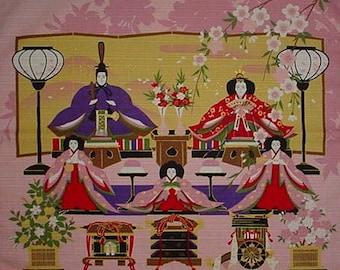 Quilting Fabric Japanese Furoshiki 'Girls' Day Hinamatsuri' Pink Cotton w/Free Shipping