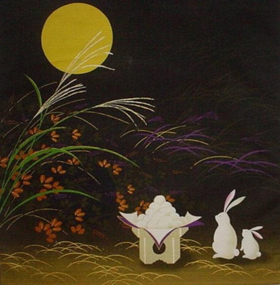 Furoshiki 'Rabbits and Mochi' Cotton Japanese Fabric 50cm w/Free Insured Shipping