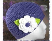 Easy Double Crochet Beanie Hat with Triple Layered Flower Pattern