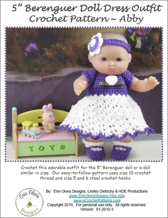 Easy Crochet Doll Clothes Patterns Free : 5 Inch Berenguer Doll Dress Crochet Pattern Abby