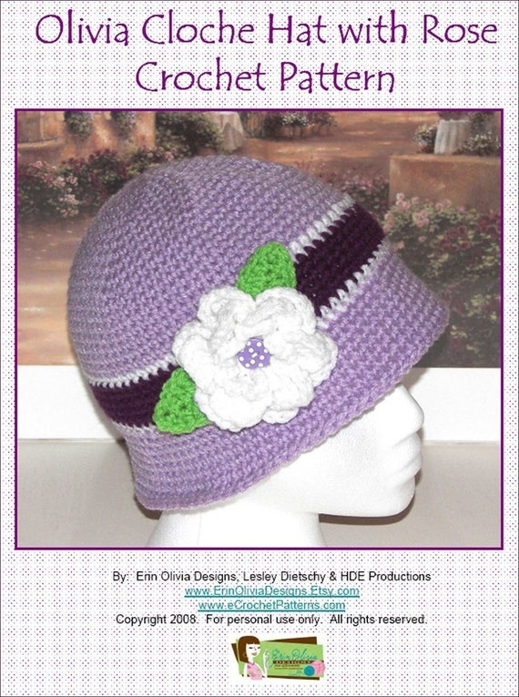 Crochet Rose Pattern For Hat : Olivia Cloche Hat with Rose Crochet Pattern