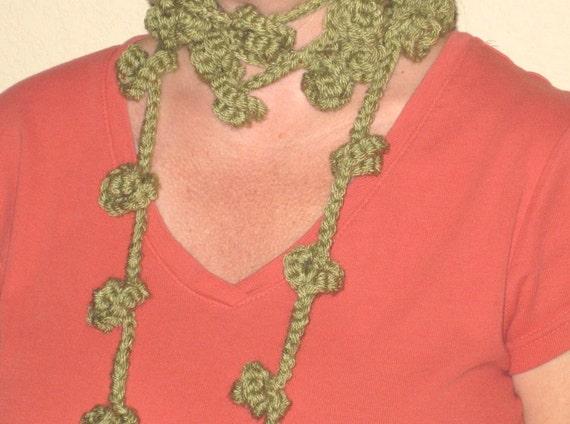 Crochet Flower Shirt Pattern : Flower Bud Lariat Scarf Crochet Pattern