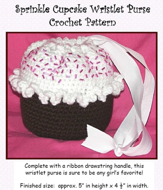 Crochet Wristlet Purse Pattern : Sprinkle Beaded Cupcake Wristlet Purse by erinoliviadesigns