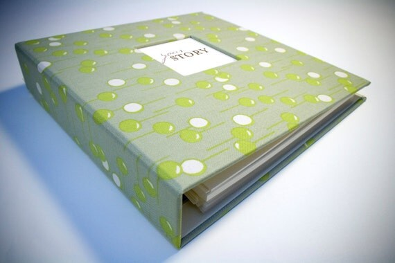 SALE . NEUTRAL Modern Baby Memory Book (New Mod Neutral Pages, Gypsy Green Cover 9.25 x 9.5)