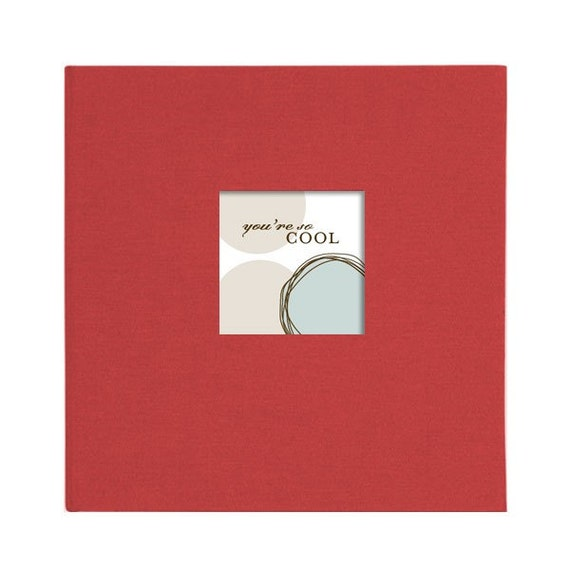 Modern BLUE BOY Baby Memory Book and Photo Album (Red Cover)