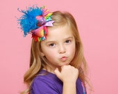 Over The Top Bow - Tie Dye - Bright and Fun Hair Bow - Curly Ostrich Feather Center with matching headband