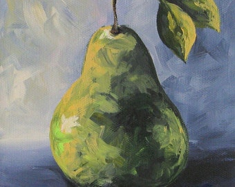 Little Green Pear 6 x 6 Original Painting on Gallery Wrapped Canvas by Torrie Smiley
