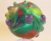 MonaRaeBeads Green Paisly Round Focal Lampwork Bead