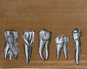 Big Teeth - encaustic