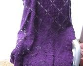 Hand Crocheted Violet Filigree Afghan
