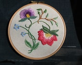 Colonial Floral Hand Embroidered Hoop Wall Art
