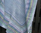 Hand Crocheted White Baby Blanket with Rainbow Colors