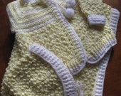 SALE !!!    Yellow and White Crocheted Baby  Blanket, Sweater and Bonnet