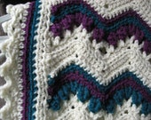 Hand Crocheted Extra Long Off White, Teal and Purple Ripple Afghan