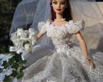 OOAK Hand Crocheted Barbie Bride Bed Pillow Doll with Imported Lace  and Swarovski Crystals