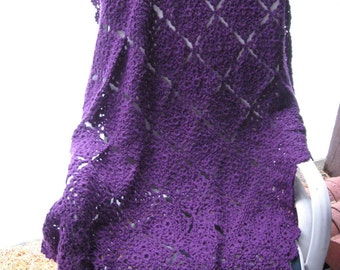 Hand Crocheted Violet Filigree Afghan