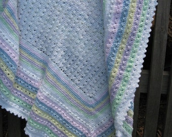 Hand Crocheted White Baby Blanket or Afghan with Rainbow Colors