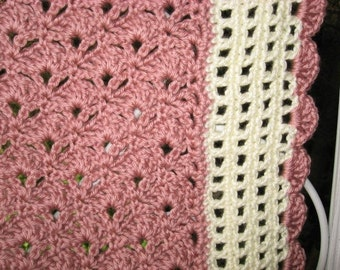Hand Crocheted  Victorian Rose and Off White Open Work Afghan