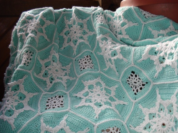 PRICE REDUCED     Crocheted Aqua and White Snowflake Afghan