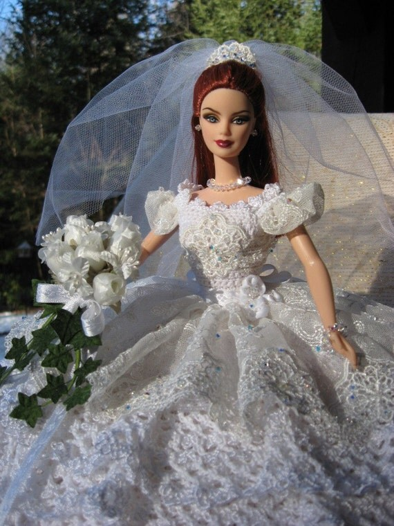 Ooak Hand Crocheted Barbie Bride Bed Pillow Doll With Imported