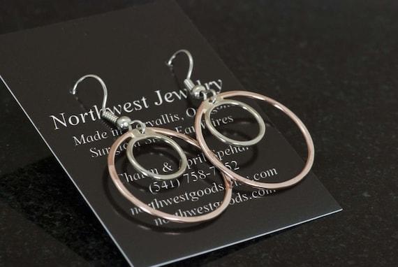 Copper and Nickel Silver Double Hoop Earrings