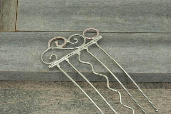 Hair comb or hair fork hair accessory, nickel Silver, bronze, and copper curly design