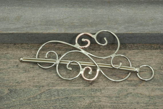 Hair slide hair barrette shawl pin or scarf pin nickel silver and copper