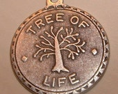 1 heavy plated sterling silver over brass tree of life charm pendant