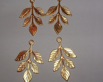 20 matte gold plated over brass leaves branches drops for necklaces Greek Grecian style