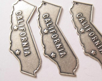 CALIFORNIA MAP charm pendants Silver Plated over brass findings(made in the USA) 8 pieces
