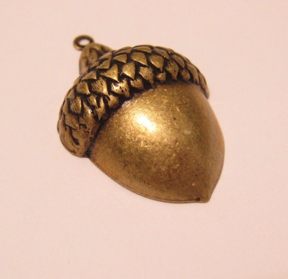 2 brass ox over brass acorn stampings, charms, pendants
