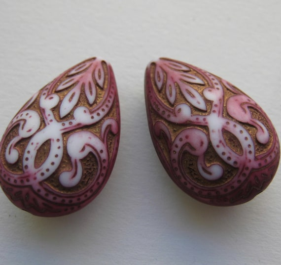 Pink with gold inlaid antique Moraccan style lucite  beads on etsy x2