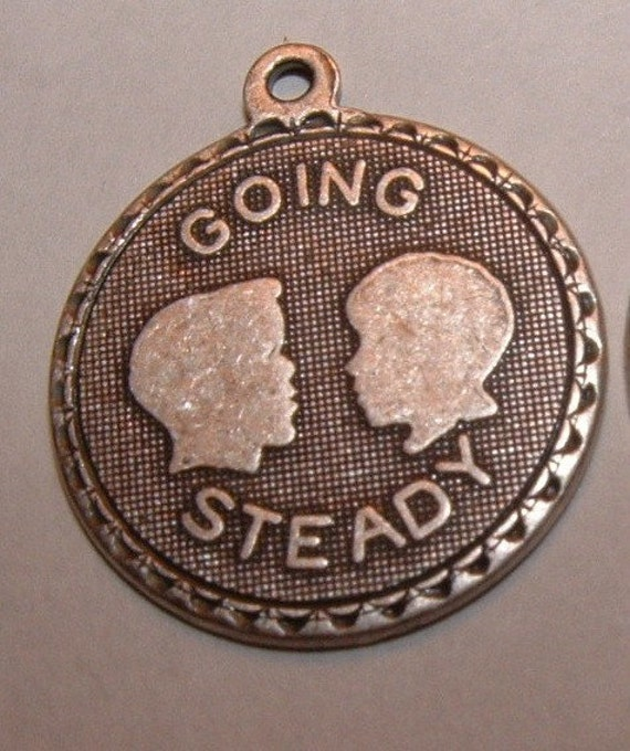 4 going steady heavy plated sterling silver over brass charms pendants