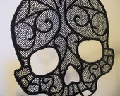 Freestanding Lace Skull Ornament