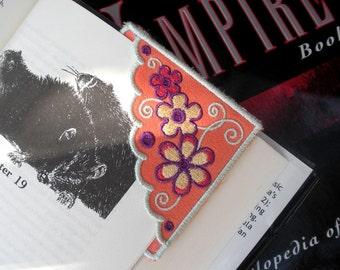 Embroidered Fabric Corner Bookmark