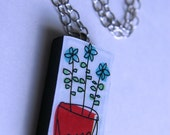 Flowers in Pot Domino Tile Necklace