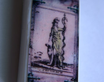 Prudence Fortune Teller Card Domino Tile Pendant Necklace