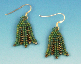 Green Lotus Herringbone Earrings
