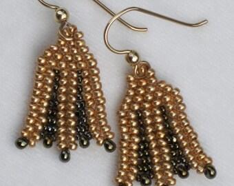 Gold Herringbone Lotus Earrings