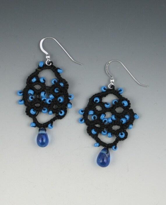 Blue Bead Tatted Earrings