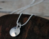 halo pendant -  sterling silver disc pendant in cool silver