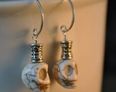skull earrings in sterling - halloween, day of the dead - free shipping