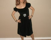 Vintage velvet dress -  black -   puff shoulder -  pixie -  by Freestyle Collection
