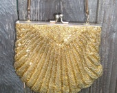 80s Gold BEADED Holiday EVENING Bag