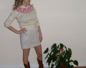 80's vintage novelty sweater -  preppy -  pink roses -  by Freestyle Collection